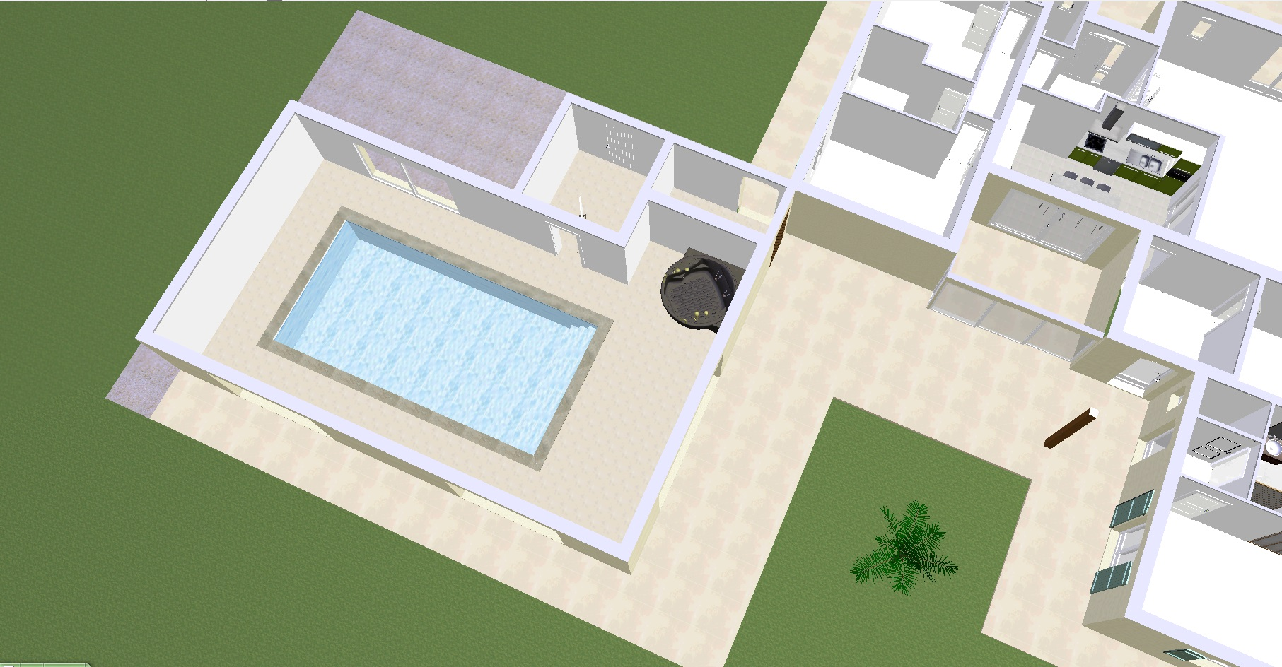 Projet 8 Vue de dessus espace piscine